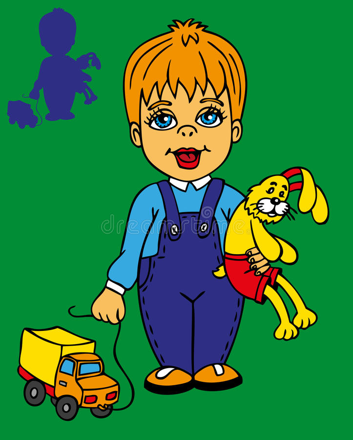 Chłopiec i królik ilustracji