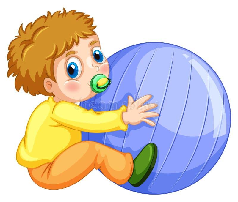 Chłopiec i piłka ilustracji