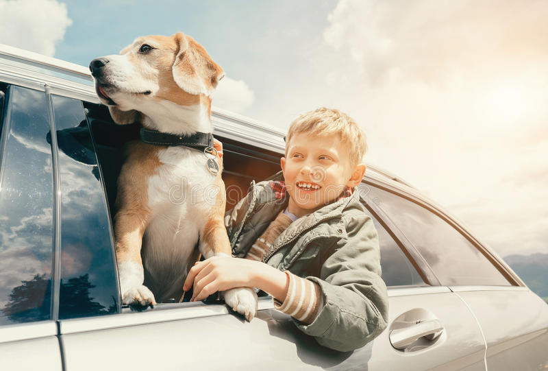 Chłopiec i pies patrzejemy out od samochodowego okno zdjęcia stock