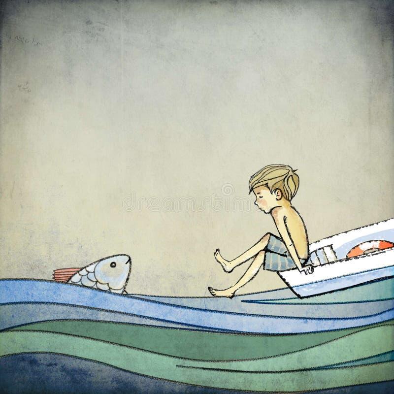 Chłopiec i ryba zdjęcie stock