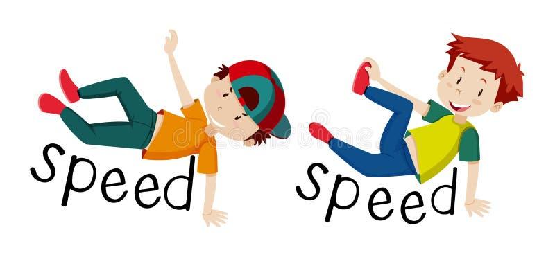 Chłopiec i słowo prędkość royalty ilustracja