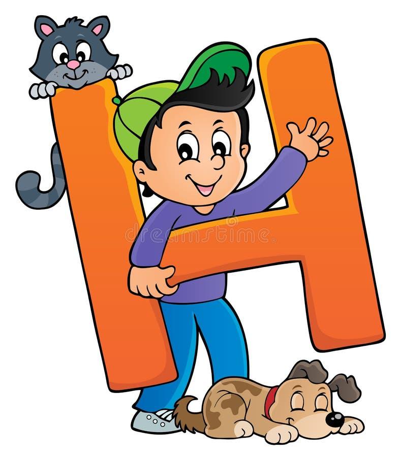 Chłopiec i zwierzęta domowe z listem H royalty ilustracja