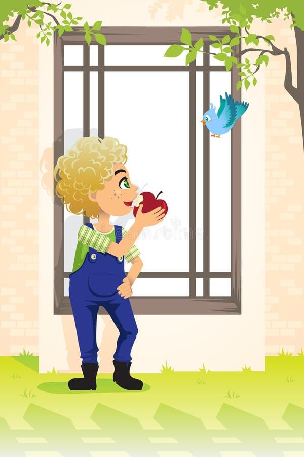 chłopiec jabłczany łasowanie royalty ilustracja