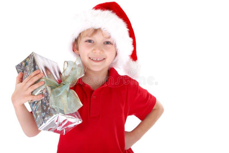 Chłopiec jako Święty Mikołaj zdjęcia royalty free