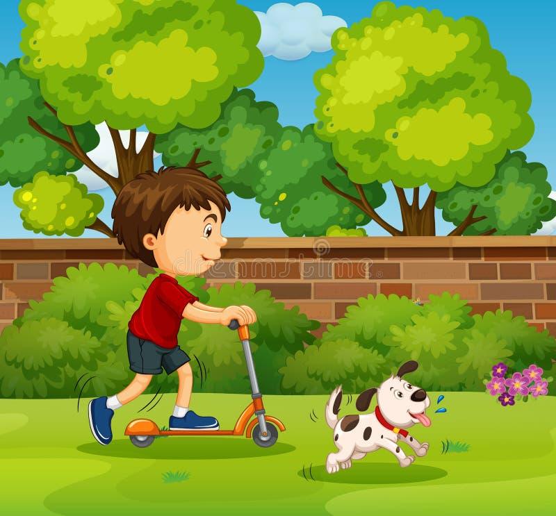 Chłopiec jazda na hulajnoga w jardzie ilustracja wektor