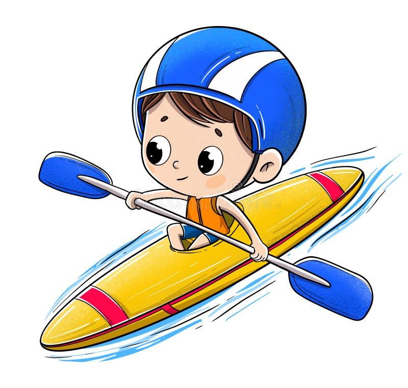 Chłopiec jazda w czółnie z hełmem ilustracja wektor