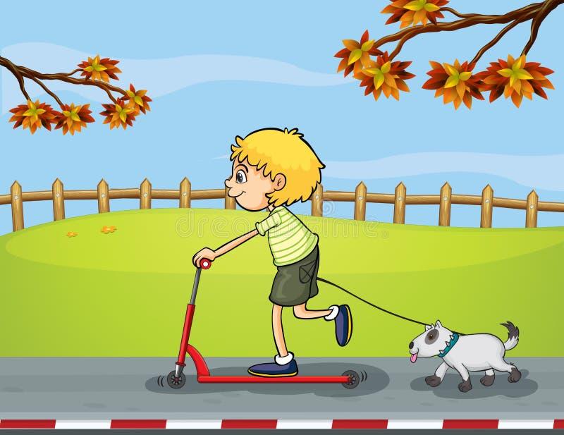 Chłopiec jazda z jego hulajnoga podążał jego zwierzęciem domowym ilustracja wektor