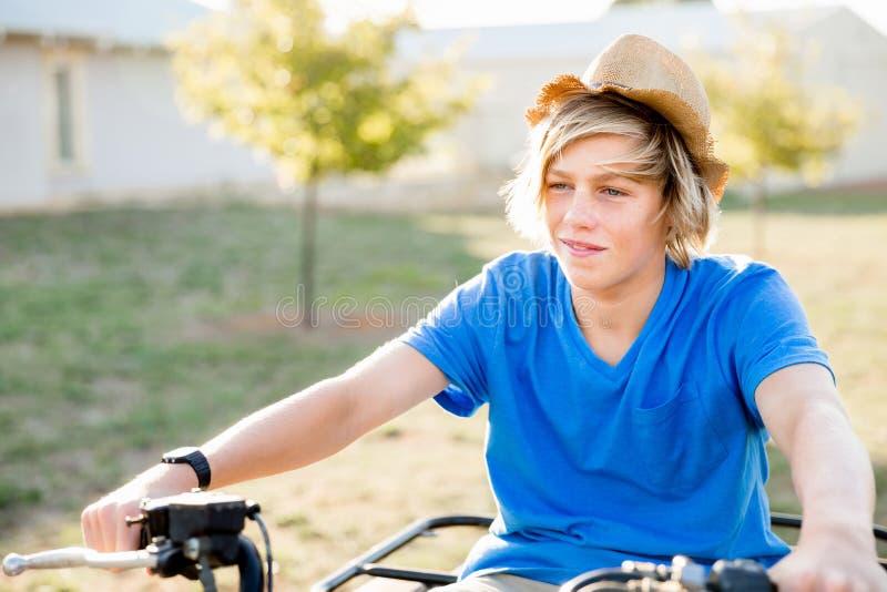 Chłopiec jazdy gospodarstwa rolnego ciężarówka w winnicy obraz royalty free