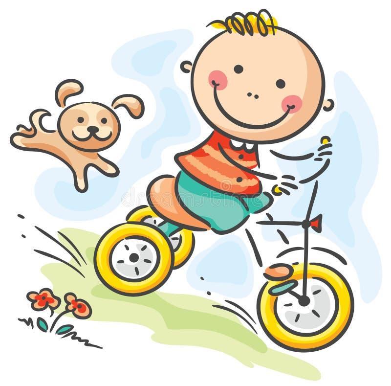 Chłopiec jedzie jego trójkołowa ilustracji