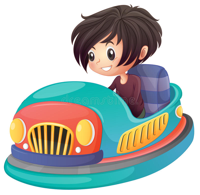 Chłopiec jedzie rekordowego samochód royalty ilustracja