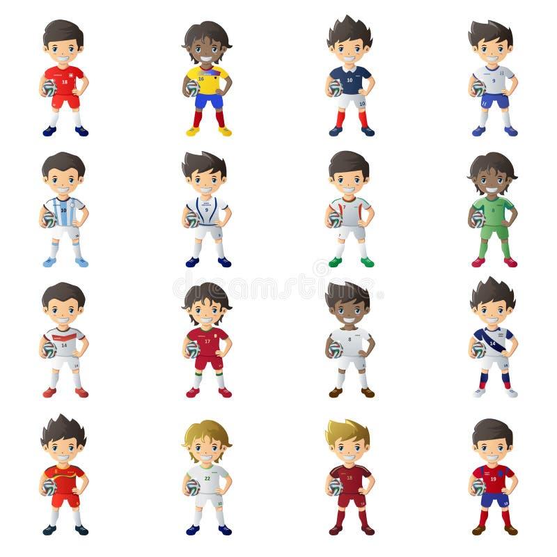 Chłopiec jest ubranym piłki nożnej bydło trzyma piłki nożnej piłkę royalty ilustracja