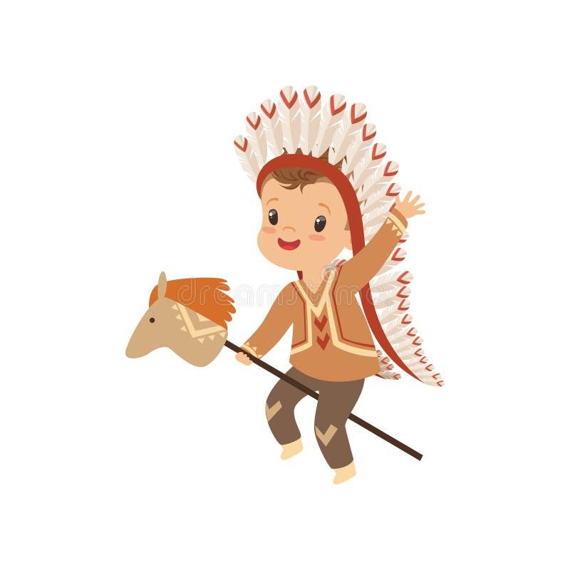Chłopiec jest ubranym rodzimego Indiańskiego kostiumu i pióropuszu kija jeździeckiego konia, dzieciak bawić się w Amerykańsko-ind ilustracja wektor