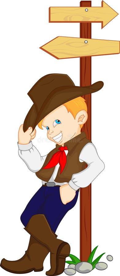 Chłopiec jest ubranym zachodniego kowbojskiego kostium ilustracja wektor