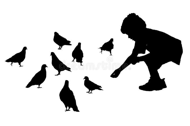 Chłopiec karmi gołębie ilustracja wektor