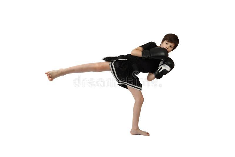 Chłopiec kickboxer fotografia stock