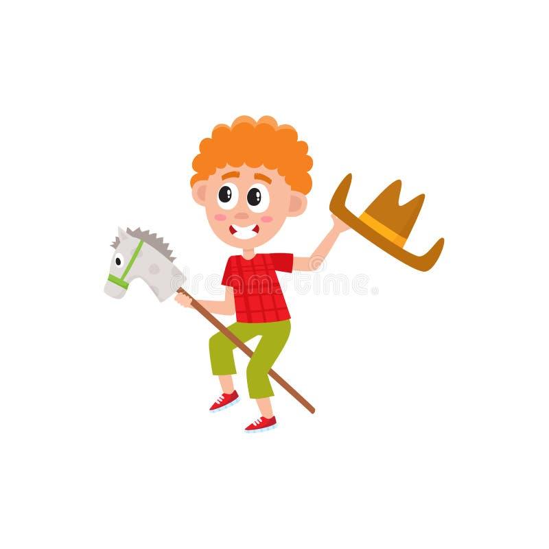 Chłopiec kija jeździecki koń i falowanie kowbojski kapelusz royalty ilustracja