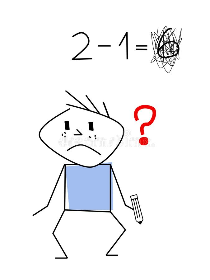 Chłopiec kija postać przy szkołą ilustracja wektor