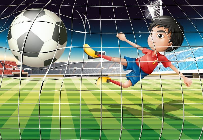 Chłopiec kopie piłkę przy boisko do piłki nożnej royalty ilustracja