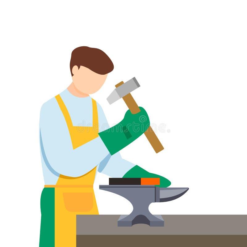 Chłopiec kowadła blacksmith ikona, mieszkanie styl royalty ilustracja