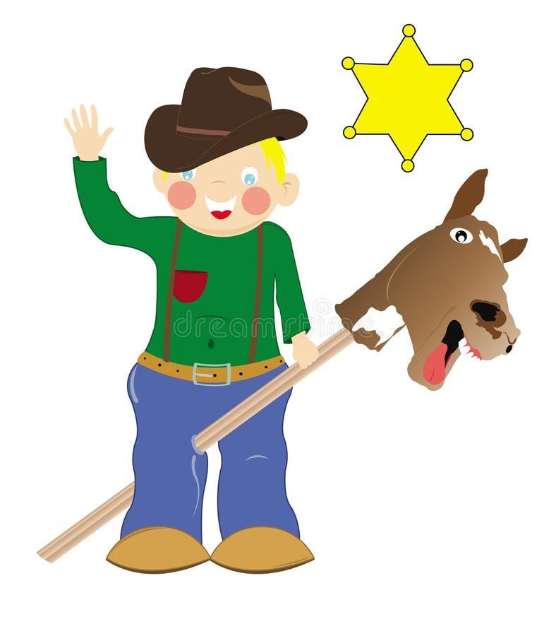 chłopiec kowboja bawić się ilustracja wektor