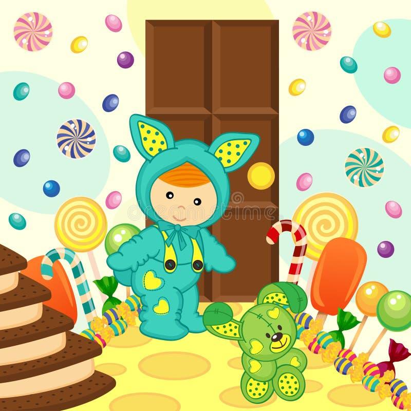 Chłopiec królika cukierki jedzenie ilustracja wektor