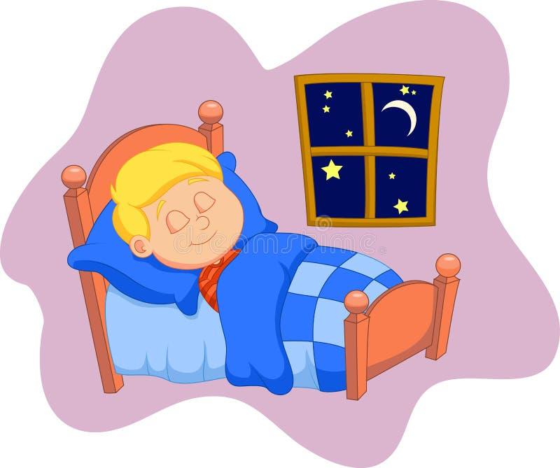 Chłopiec kreskówka był uśpiona w łóżku ilustracja wektor