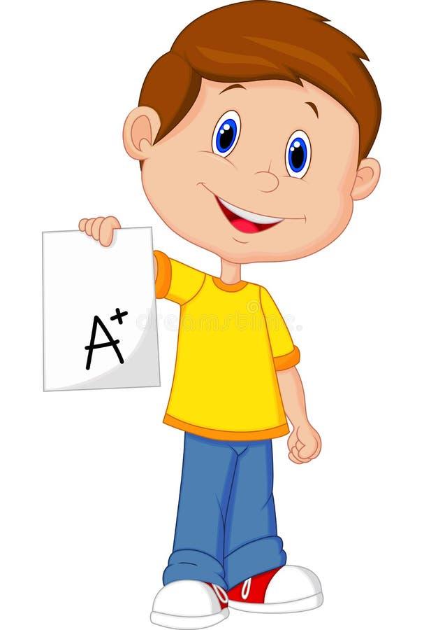 Chłopiec kreskówka pokazuje A plus stopień royalty ilustracja