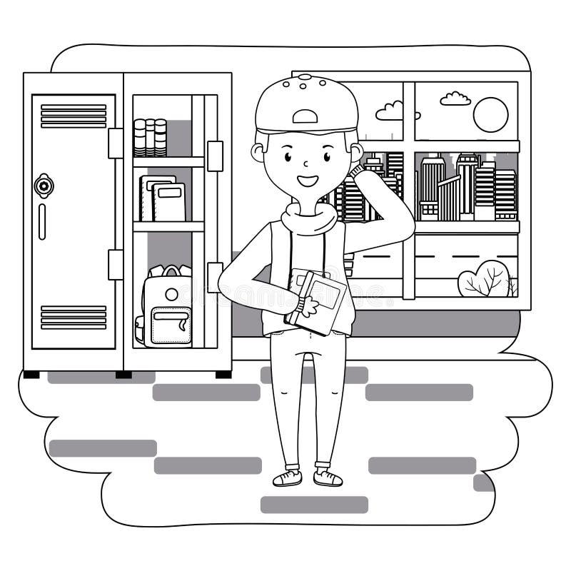 Chłopiec kreskówka szkolny projekt ilustracji