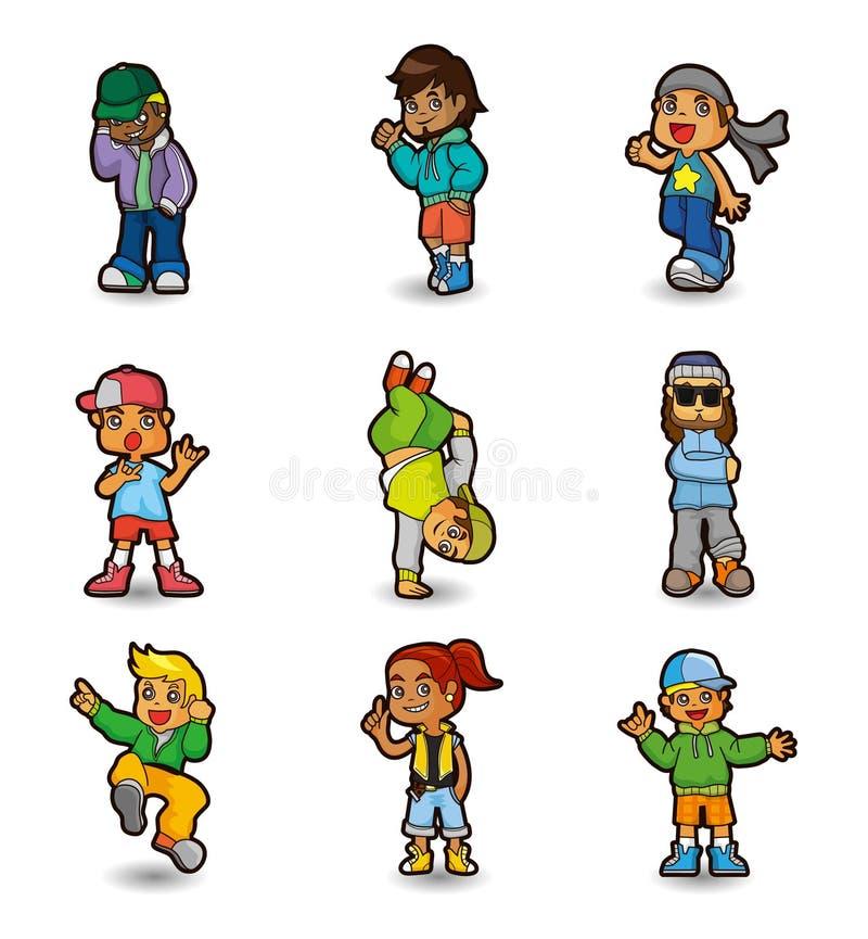 chłopiec kreskówki dancingowy hip hop ikony set ilustracji