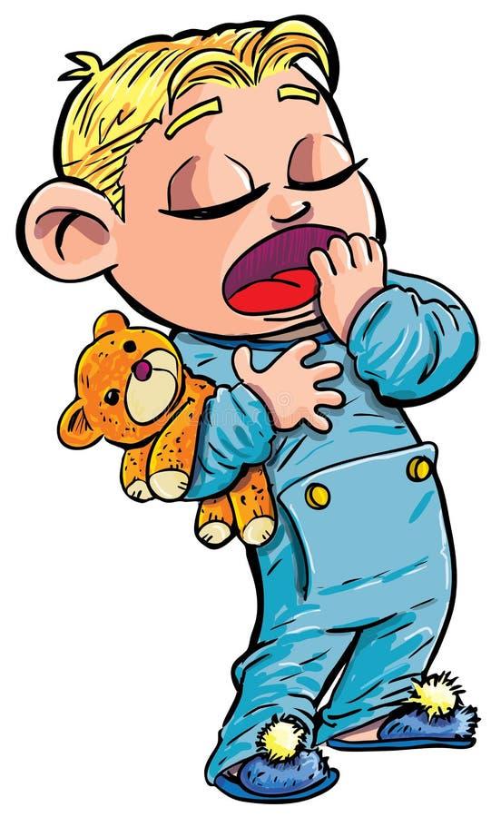 chłopiec kreskówki mały śpiący ziewanie ilustracji