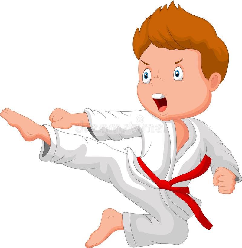 Chłopiec kreskówki stażowy karate ilustracji