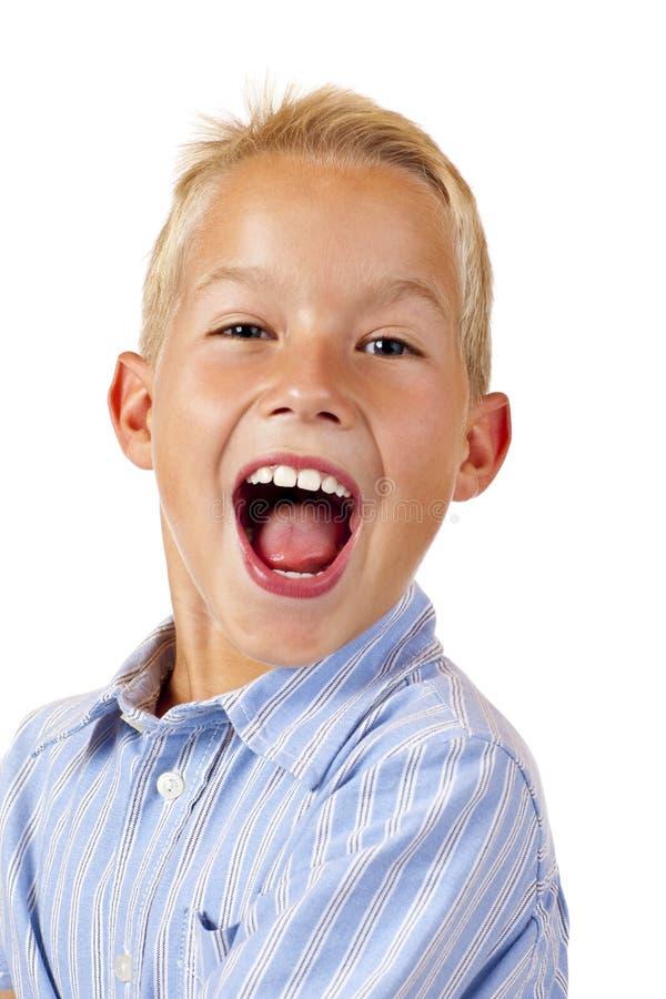 chłopiec krzyki przystojni głośni fotografia stock