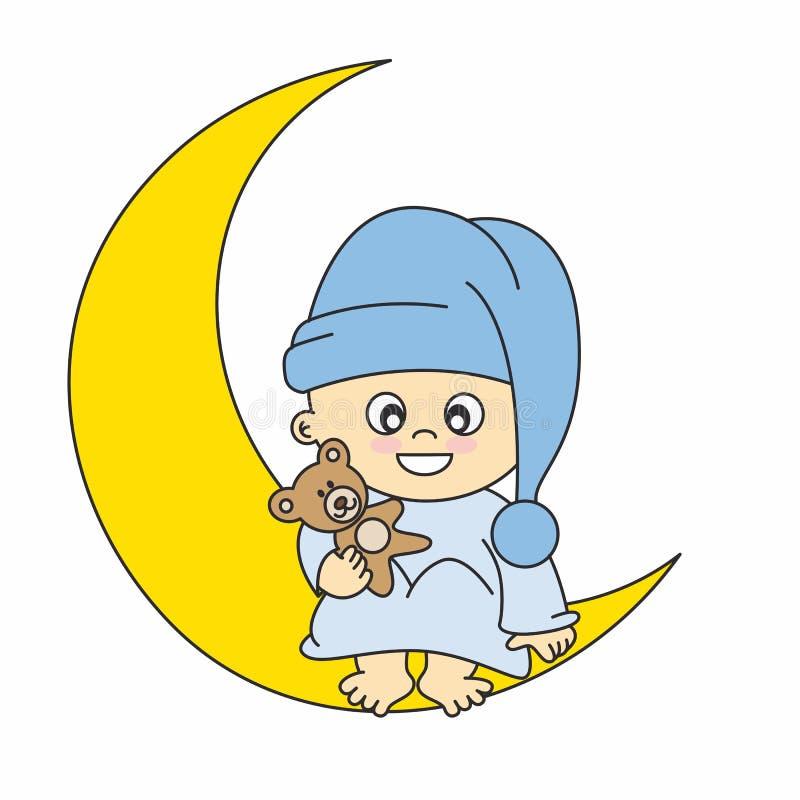 chłopiec księżyc ilustracji