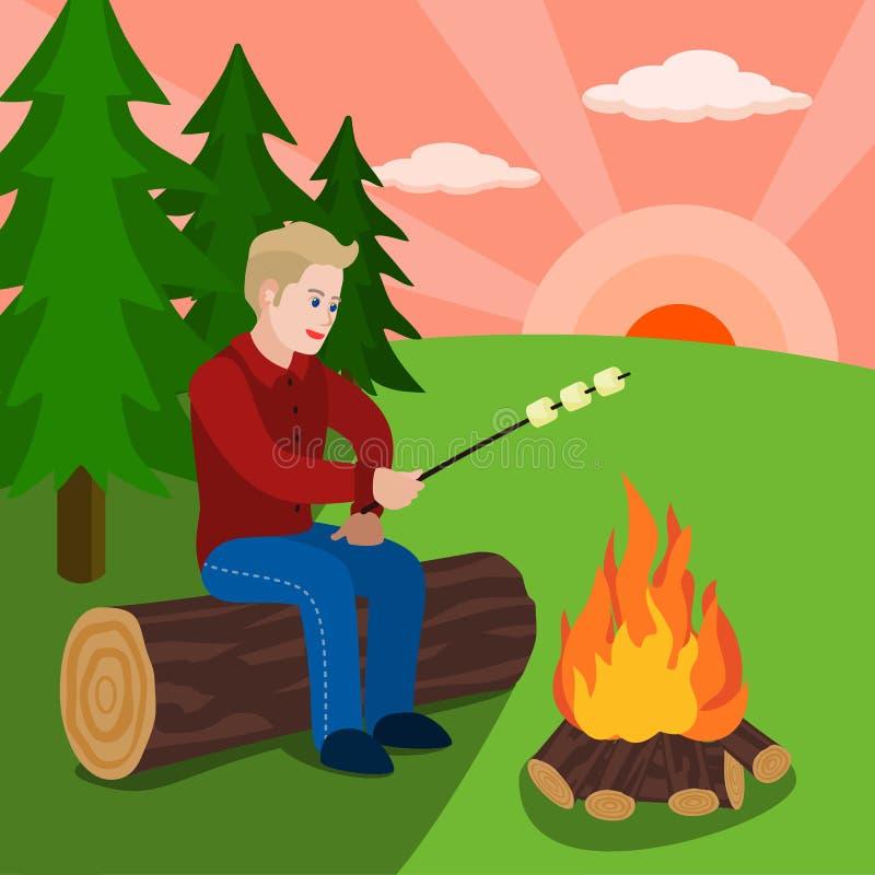 Chłopiec kucbarski marshmallow na pożarniczym pojęcia tle, mieszkanie styl royalty ilustracja