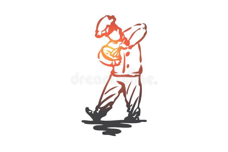 Chłopiec, kucharz, baty, ciasto, piekarniany pojęcie Ręka rysujący odosobniony wektor ilustracji