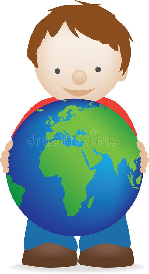 chłopiec kula ziemska ilustracji