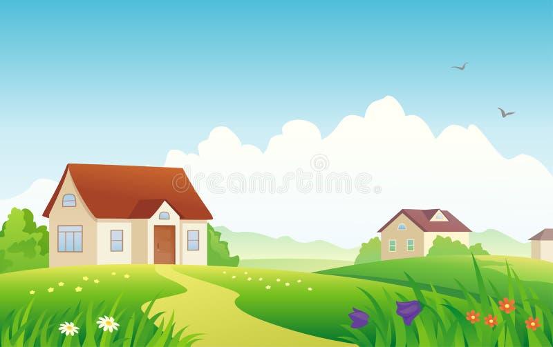chłopiec kurczak karmi lato ostrą wioskę royalty ilustracja