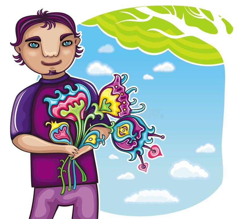 chłopiec kwitnie potomstwa ilustracji