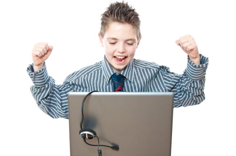 chłopiec laptop obrazy royalty free