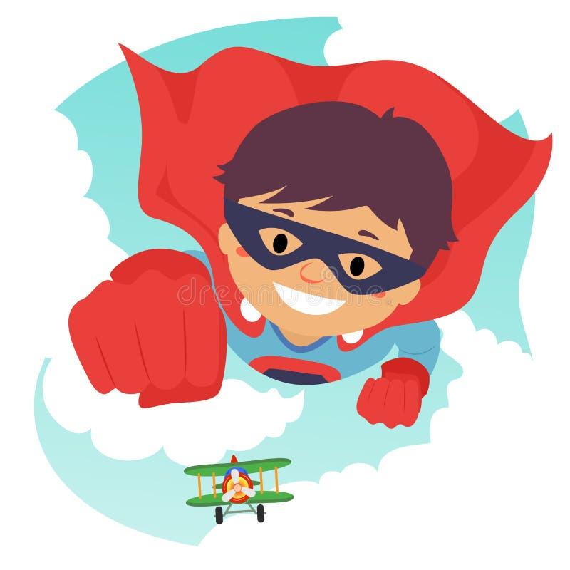 Chłopiec latanie jako Super bohater ilustracja wektor