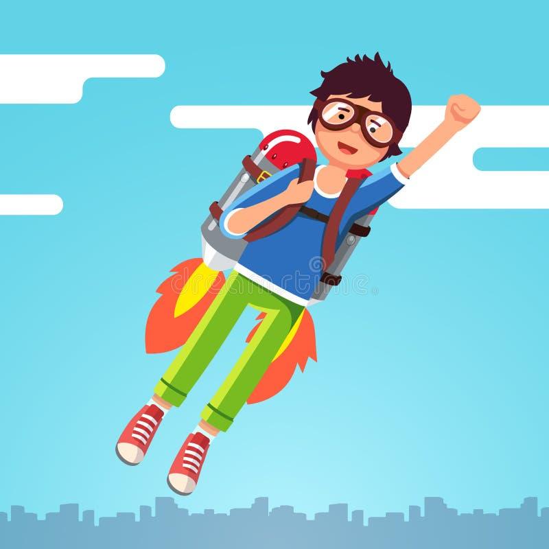 Chłopiec latanie w niebie chmurnieje na rakietowym jetpack ilustracji