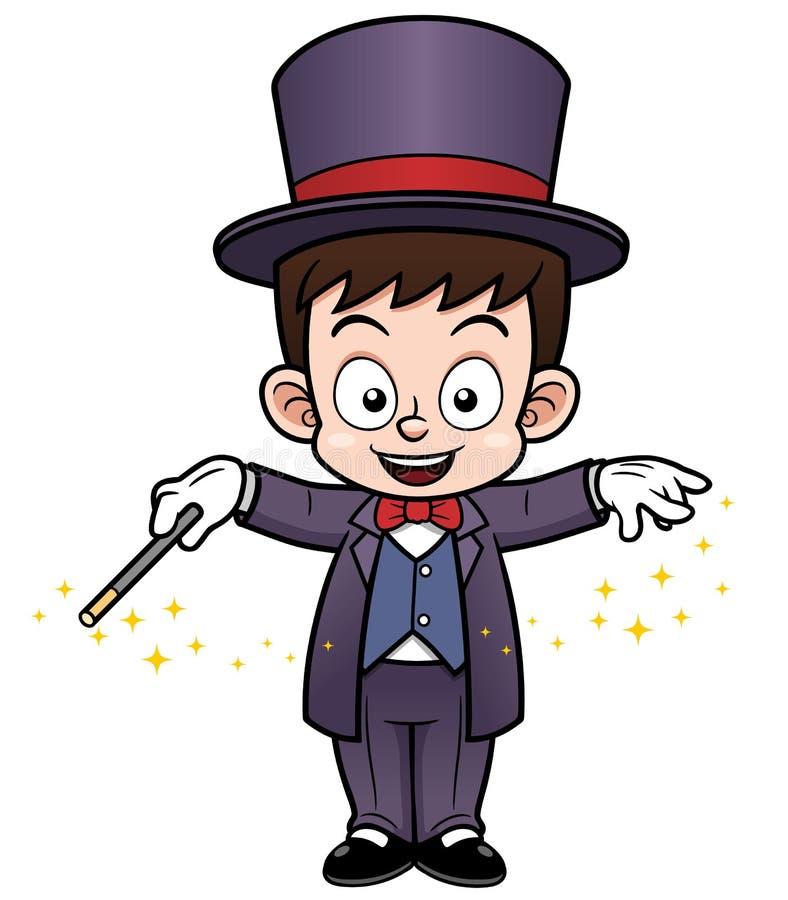 Chłopiec magika kreskówka royalty ilustracja