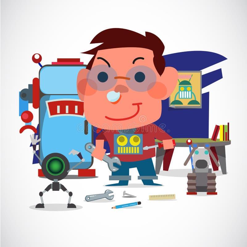 Chłopiec mechanik z jego robotem Robota kochanka pojęcie Dzieciaka ` s sen - ilustracja wektor