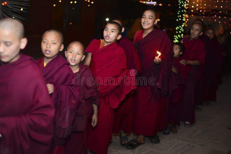 Chłopiec michaelita Buddyjski monaster, Kathmandu, Nepal, 2017 Grudzień fotografia royalty free