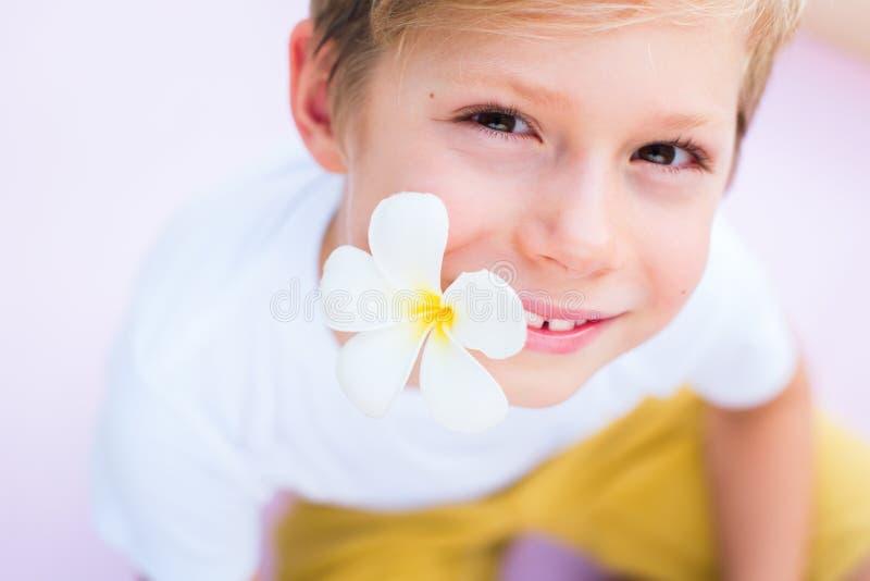 Chłopiec mienia kwiatu usta menchii tło zdjęcia royalty free