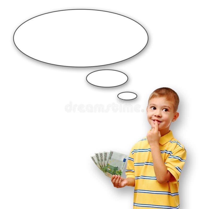 Chłopiec mienia pieniądze i myśl bąbel zdjęcia royalty free