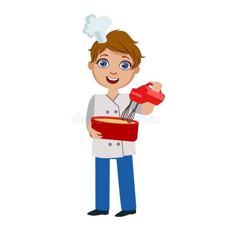 Chłopiec Miesza ciasto Z Elektrycznym melanżerem, Śliczny dzieciak W Naczelnego Toque Kapeluszowej Kulinarnej Karmowej Wektorowej ilustracja wektor