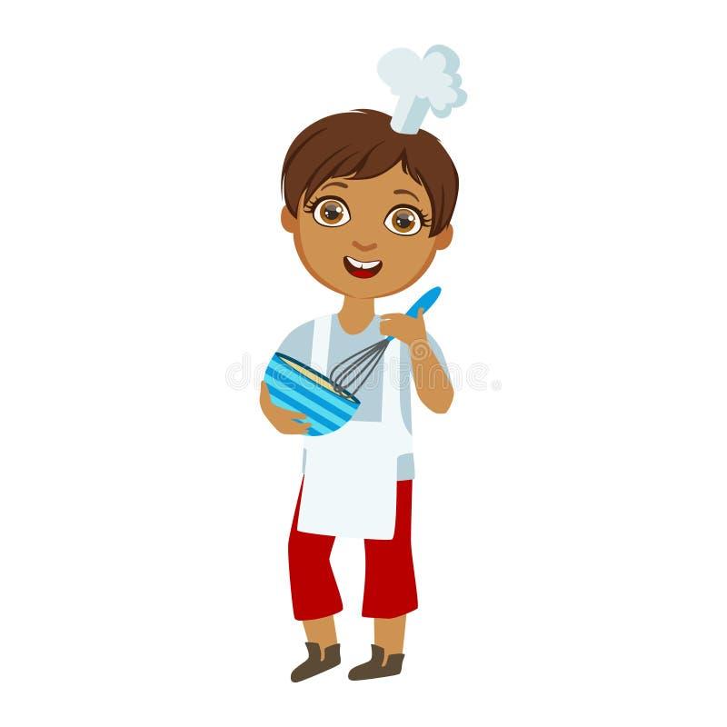 Chłopiec Miesza kumberland W pucharze Z batem, Śliczny dzieciak W Naczelnego Toque Kapeluszowej Kulinarnej Karmowej Wektorowej il royalty ilustracja
