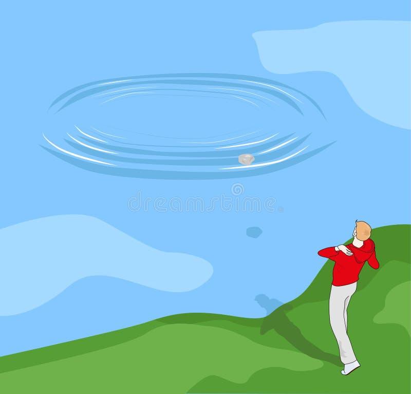 Chłopiec miotania kamienie w wodę ilustracji