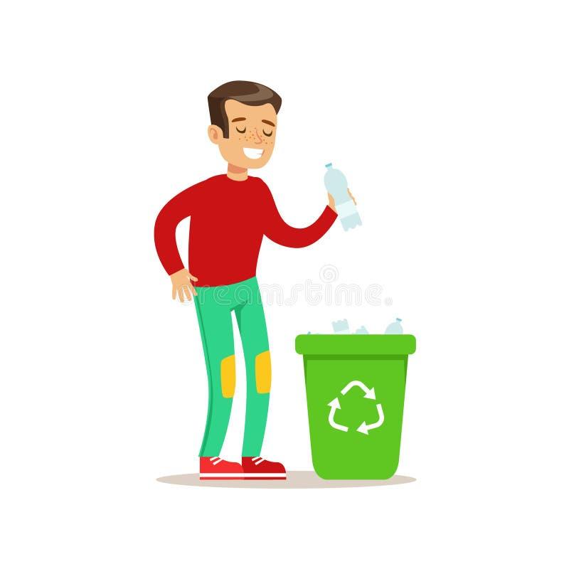 Chłopiec miotania klingerytu odpady W Przetwarzać Śmieciarskiego kosza kreskówki dzieciaka Uśmiechniętego charakteru Pomaga Z Hou royalty ilustracja